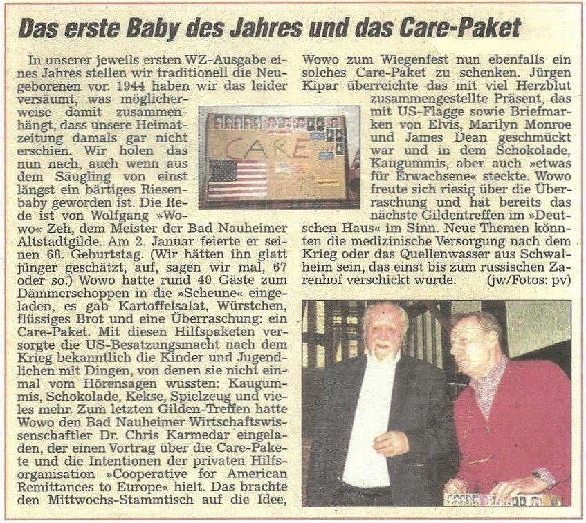 Das erste Baby des Jahres und das Care-Paket, WZ 07.01.2012, Text: Jürgen Wagner, Foto: pv