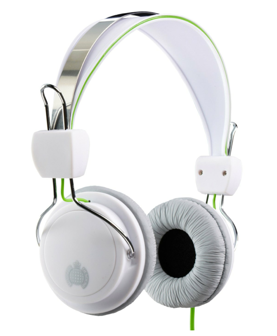 Ministry of Sound 004 Headphones - White/Grey with Green Cable