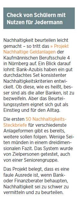 """Handelsblatt Business Briefing Nachhaltige Investments"" vom 13.06.2014, S.9"