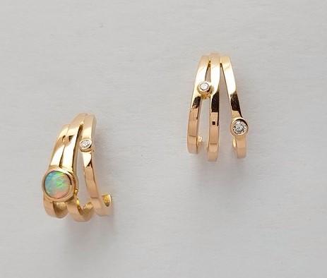 boucles d'oreilles or rose, cabochon opale du Brésil et diamants