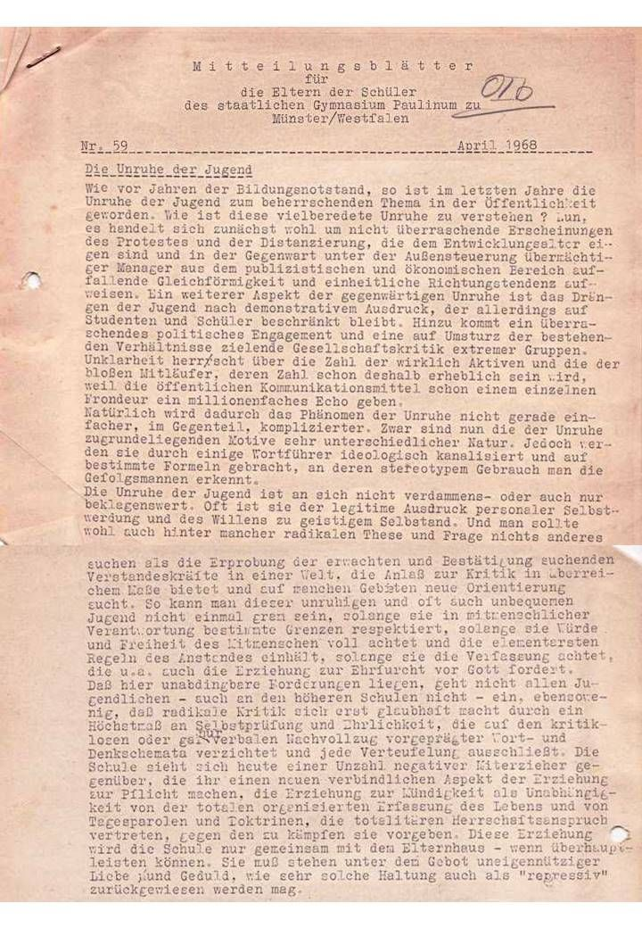 "Hermann Hugenroth ""Über die Unruhe der Jugend"" (Mitteilungsblatt Nr. 59, April 1968)"