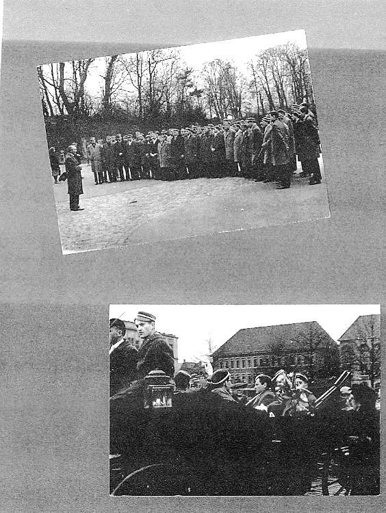 Verabschiedung auf dem Schulhof  durch den Schulleiter Hermann Hugenroth / Detail vom Kutschenumzug