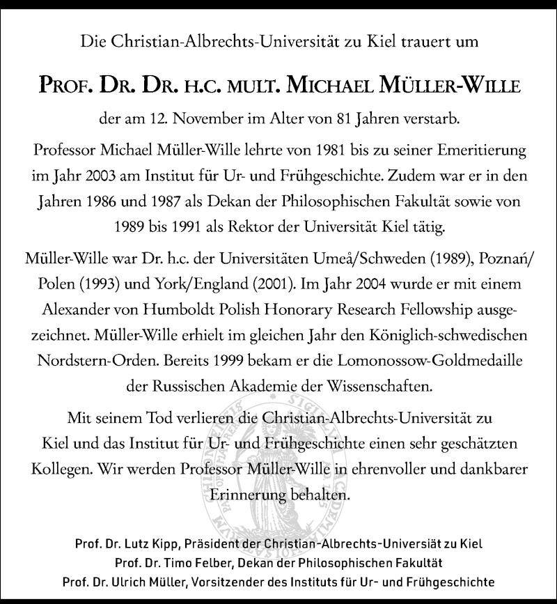 """Nachruf aus den """"Kieler Nachrichten"""" von 16.11.2019"""