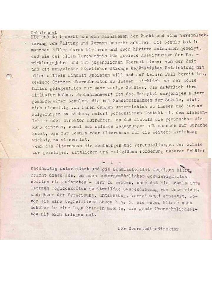 Aus unserem Archiv: OStDir Hermann Hugenroth 1964 über die Schulzucht