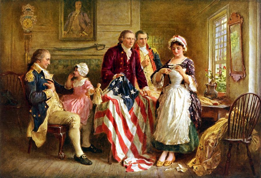 George Washington et Betsy Ross confectionnant le premier drapeau américain