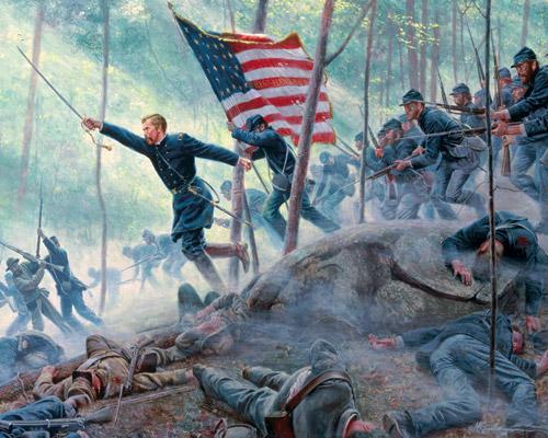 Général Chamberlain (US Army) à Little Round Top, bataille de Gettsyburg, juillet 1863