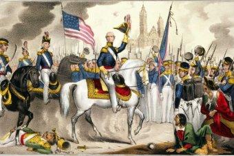 Général Winfield Scott, commandant l'US Army, fait une entrée triomphale dans la ville de Mexico.