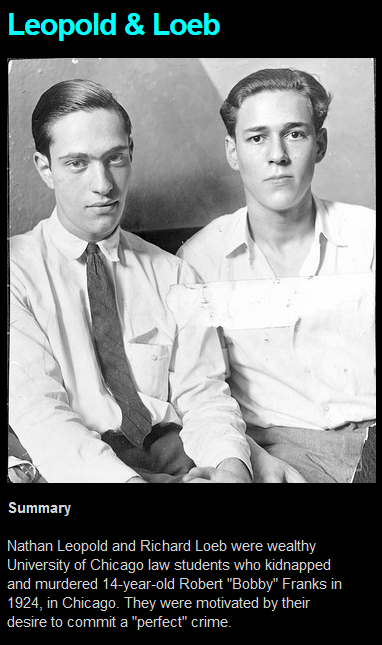 the life of leopold and loeb Leopold and loeb still might have gotten away with murder, had it not been for one small detail — a pair of tortoise-shell glasses with an unusual hinge found at the scene detectives tracked the glasses to a chicago optometrist, who had sold only three pairs.