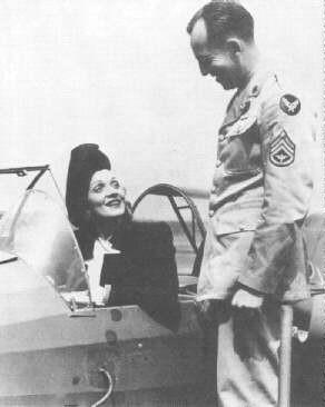 Marlene Dietrich during WWII in a glider ......