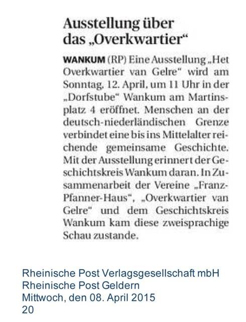 Artikel in de Rheinische Post van 8 april 2015