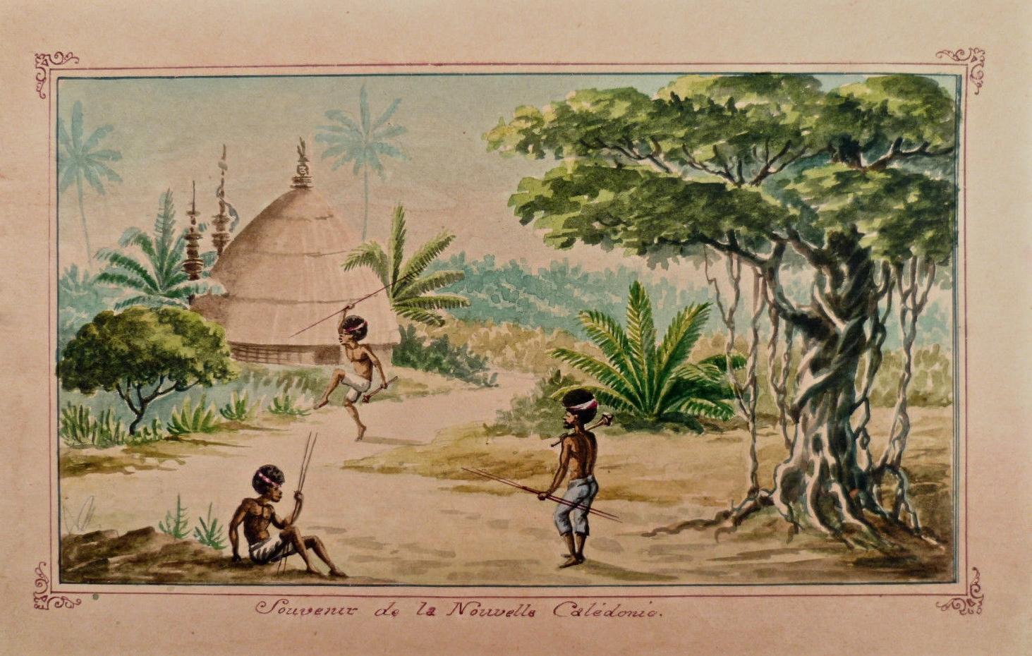 """Anonyme : aquarelle : """" Souvenir de la Nouvelle-Calédonie """""""
