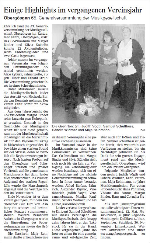 Oltner-Tagblatt 6.2.2013