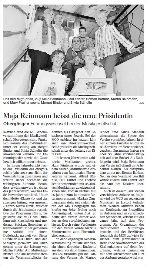 Oltner Tagblatt 13. Februar 2014