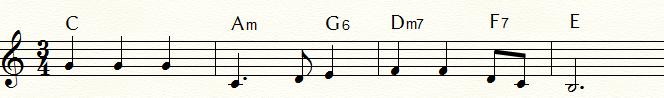 特殊なドミナント・セブンス・コード例②:フラメンコな「ふるさと」末尾4小節