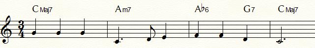 サブドミナント・マイナー代理和音bⅥ6(Ab6)を使用した「ふるさと」コード進行例