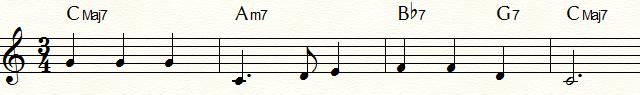 サブドミナント・マイナー代理和音bⅦ7(Bb7)を使用した「ふるさと」コード進行例