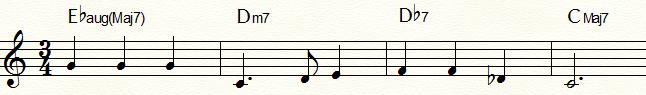 マイナー・ダイヤトニックからの代理和音と裏コードを用いて半音階的進行(下降)にした「ふるさと」コード進行例