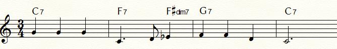特殊なドミナント・セブンス・コード例①:ブルージーな「ふるさと」末尾4小節