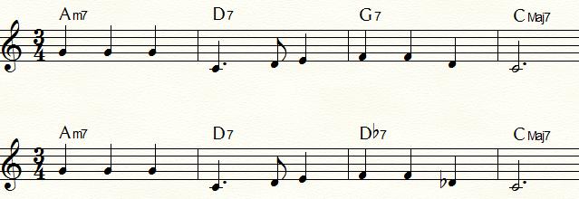 裏コードを使用した「ふるさと」コード進行例① ドミナント・コードG7の裏コードDb7