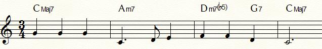 サブドミナント・マイナーⅡm7b5(Dm7b5)を使用した「ふるさと」コード進行例