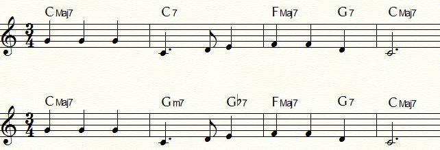 裏コードを使用した「ふるさと」コード進行例② セカンダリー・ドミナント「C7」の裏コード「Gb7」
