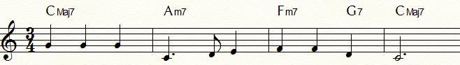 サブドミナント・マイナーⅣm7(Fm7)を使用した「ふるさと」コード進行例