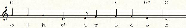 「ふるさと」末尾の4小節コード