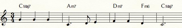 サブドミナント・マイナーⅣm6(Fm6)を使用した「ふるさと」コード進行例