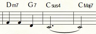 「ふるさと」末尾2小節:sus4例