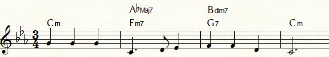 ハーモニック・マイナー・ダイヤトニック・コードを用いた「ふるさと」コード進行例