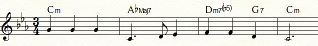 ハーモニック・マイナー・ダイヤトニック・コードを用いた「ふるさと」のマイナー・ツー・ファイブ例