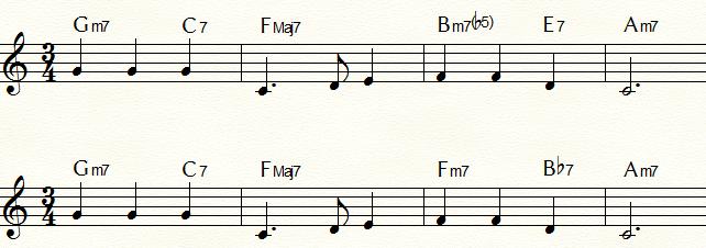 裏コードを使用した「ふるさと」コード進行例③ セカンダリー・ドミナント「E7」の裏コード「Bb7」とその関係Ⅱm7