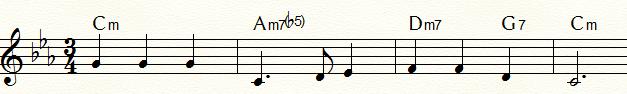 メロディック・マイナー・ダイヤトニック・コードを用いた「ふるさと」のマイナー・ツー・ファイブ例