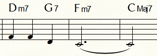 「ふるさと」末尾2小節:Fm例