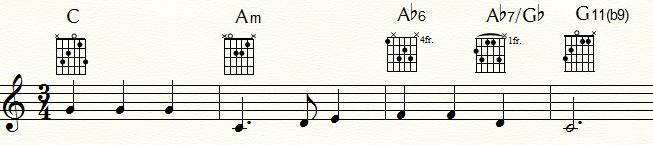 特殊なドミナント・セブンス・コード例③:ムイ・フラメンコな「ふるさと」末尾4小節
