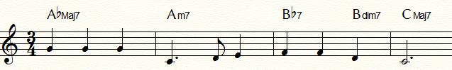 マイナー・ダイヤトニックからの代理和音を用いて半音階的進行(上昇)「ふるさと」コード進行例