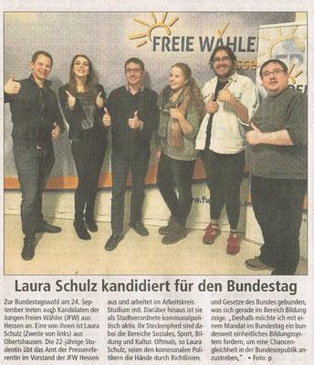 Laura Schulz kandidiert für die freien Wähler Offenbach Post vom 10. Februar 2017