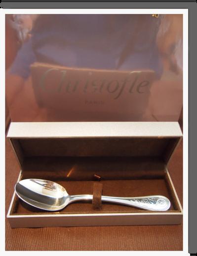 パパからhalf birthdayのプレゼント♪ 名前と生まれた日、体重が彫られている クリストフルの銀のスプーン♪