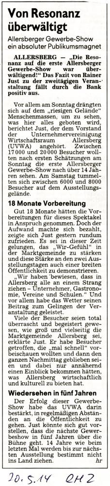 Artikel: Roth-Hilpoltsteiner Volkszeitung, 20.5.2014