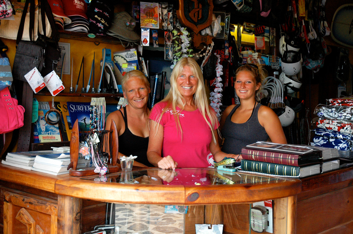 with my mom Ute and sister Janni in our Northshore shop, Lajares Fuerteventura
