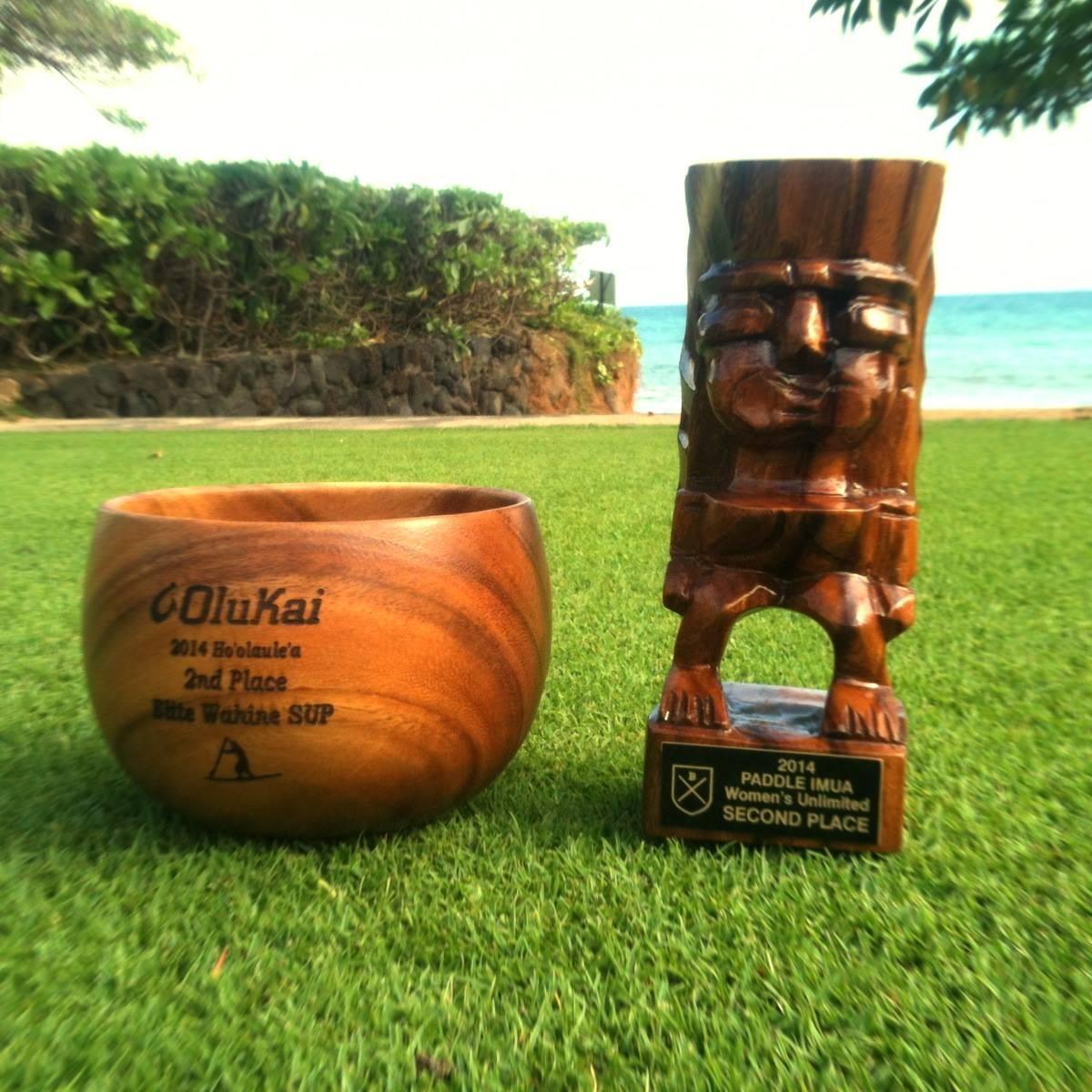 trophies of Maui downwind races 2014