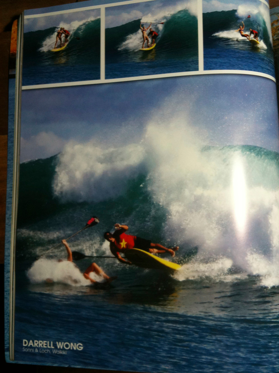 tandem surfing on the south coast of Oahu, bad wipeout
