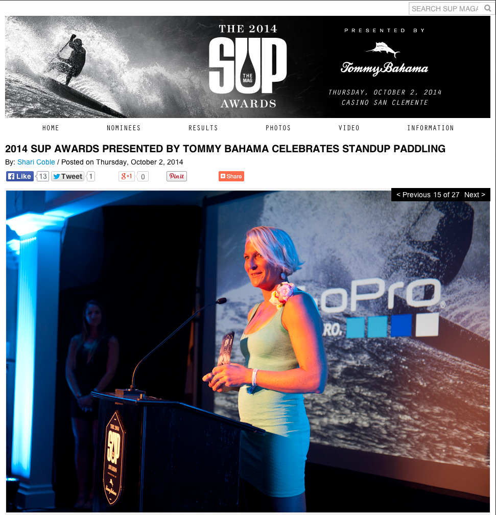"winning the Sup award ""best female performance of the year"" San Clemente CA"