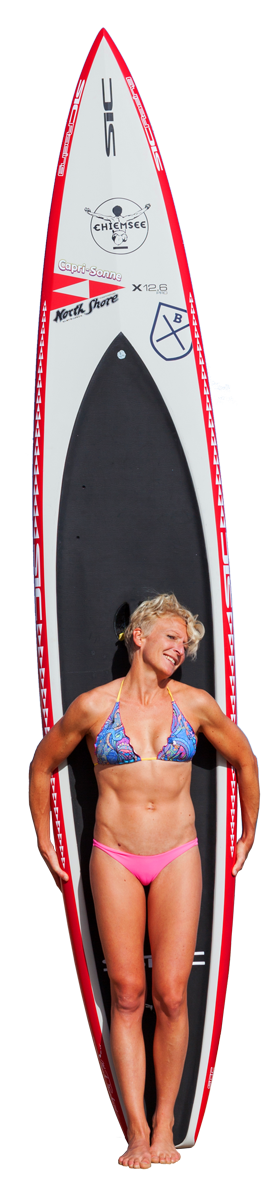 Sonni with her SIC X 12.6 raceboard