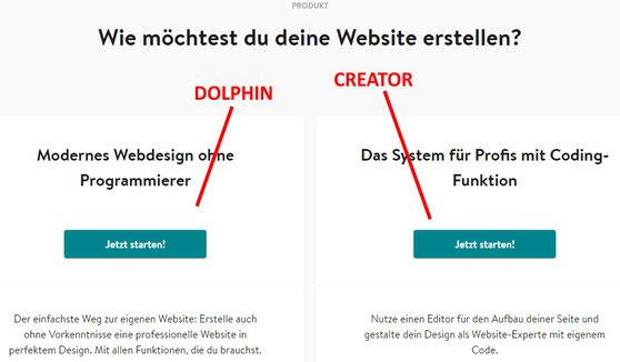 Dolphin oder Creator auswählen