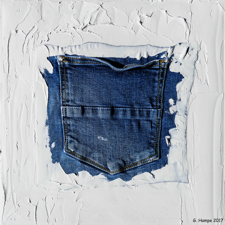 The backside of a jeans 30x30x4 cm Leinwand