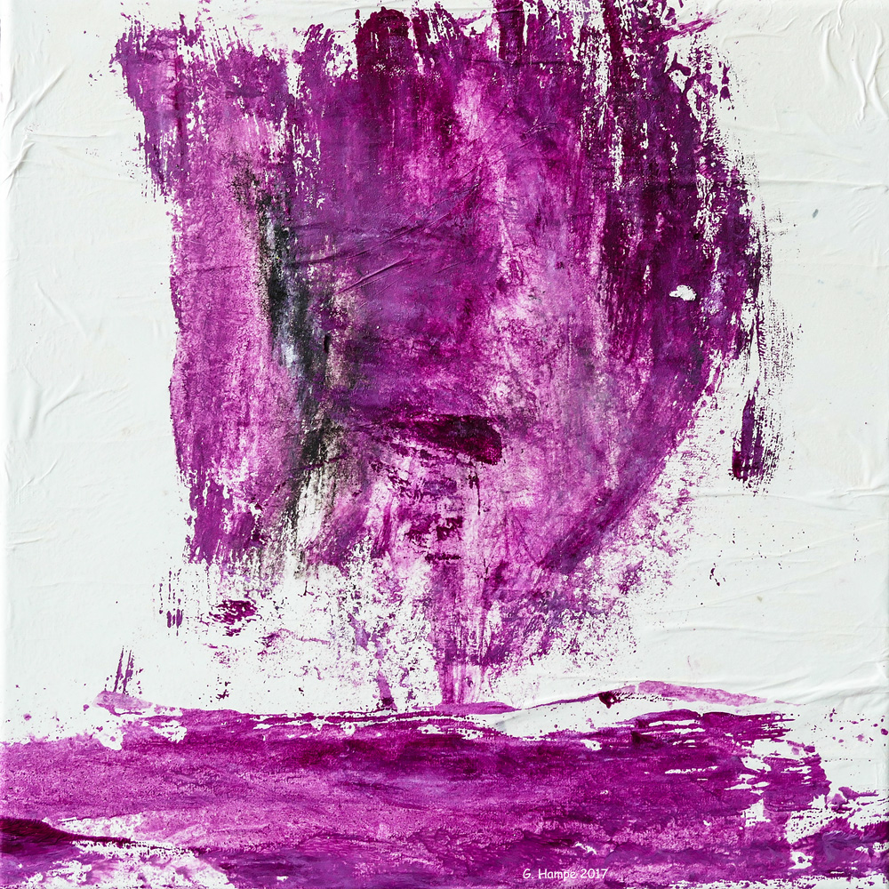 The face in purple 30x30x4 cm Leinwand