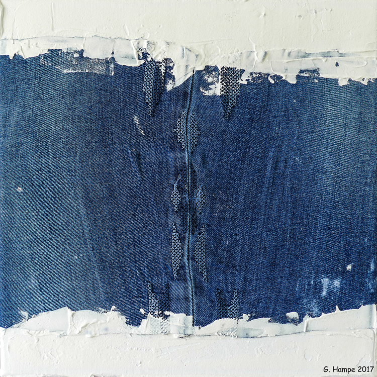 Part of a blue jeans 30x30x4 cm Leinwand