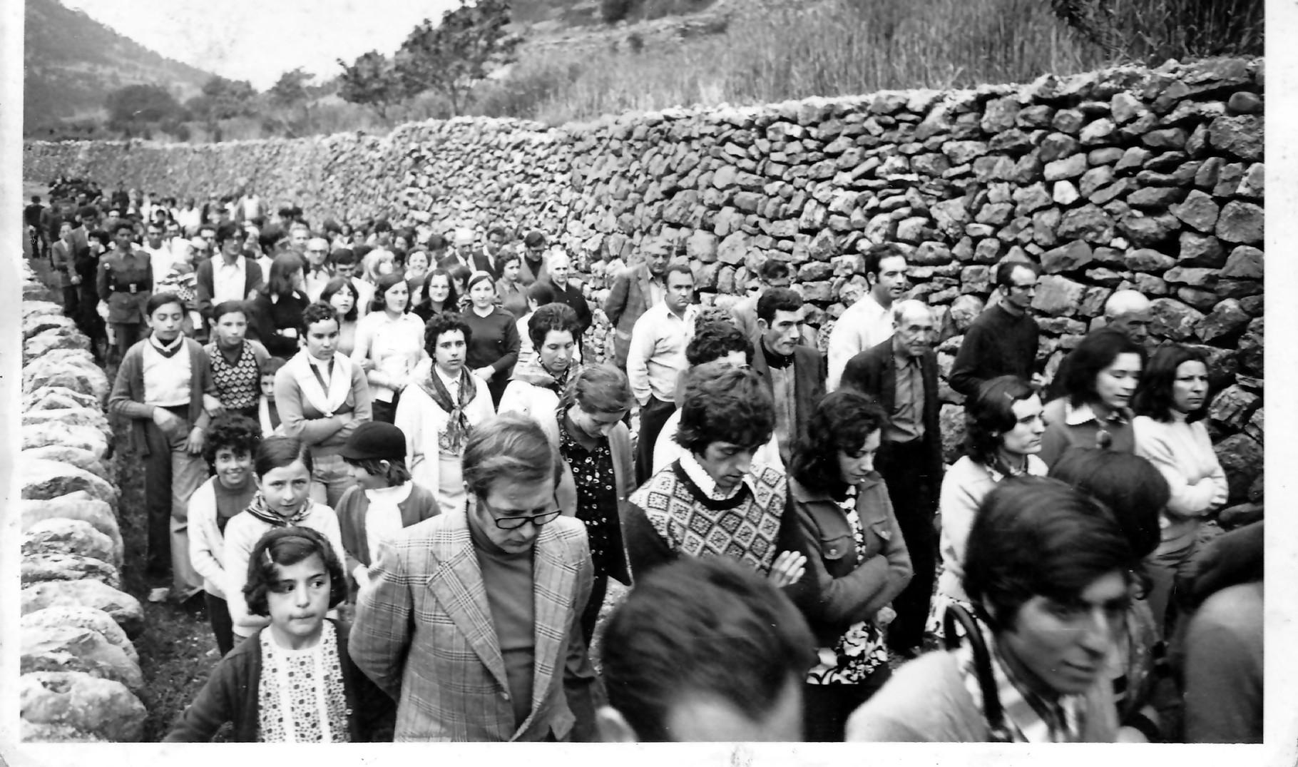 Llegada de la romería a La Estrella. Año 1974