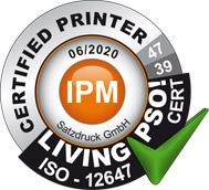 Living PSO! Zertifikat der Druckerei SATZDRUCK aus Coesfeld (NRW)